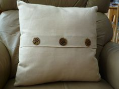 Tan button closure pillow by MartysPillows on Etsy, $30.00