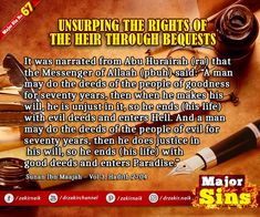 Major Sins in Islam Islamic Prayer, The Messenger, The Deed, Know The Truth, The Heirs, Oppression, Quran, Forgiveness, Prayers