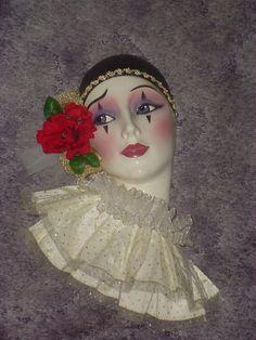 Clay Art Ceramic Mask RED ROSE PIERROT