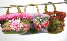 Felted Floral Purses.Textile flowers create an image of garden blossom. Wherever you go bring a flowerbed with you to create a summer feeling!