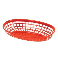 """9 1/4"""" x 5 3/4"""" Red Plastic Oval Fast Food Basket - 12/Pack"""