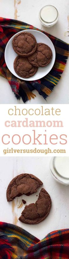 Chocolate Cardamom Cookies -- crispy on the outside, soft and chewy on the inside and loaded with rich chocolate flavor, these giant chocolate cardamom cookies are some of my new favorite cookies, EVER. http://girlversusdough.com /girlversusdough/