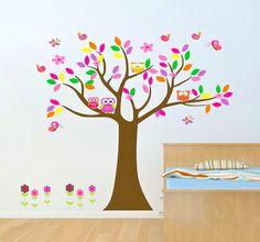 Baby nursery wall decal baby girl wall decals Wall sticker vinyl owl tree wall decals kids children room decor wall art