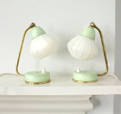 RESERVED. Pair of Vintage Midcentury Lamps. White Lampshade, Mint Green and Brass Detail.