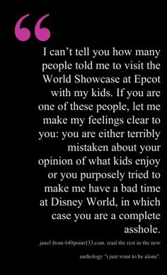 You won't even believe what my husband said when we were there.  Read the rest of this essay by @Janel Mills in the new book I Just Want to Be Alone! #justbealone #Epcot #husband #oopsiedoodles