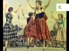 1960s - Scotland Highland dancing footage (no sound); Betty Jessiman in red skirt and green vest; would this be Aboyne games, given ladies' outfits for Highland?