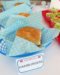 Drive In Party - Hamburger Liners (Tissue Paper); Tray from Target $1 bin