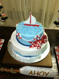 Nautical Baby Boy Welcome Party Party Ideas Sailboat Cake, Nautical Cake, Nautical Party, Pretty Cakes, Cute Cakes, Beautiful Cakes, Amazing Cakes, Sea Cakes, Cakes For Boys