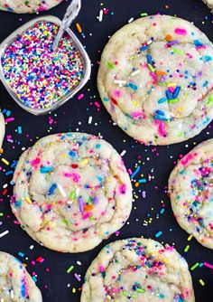 Funfetti Cookies -- these are definitely my new favorite. Saving for halloween and doing black and orange sprinkles