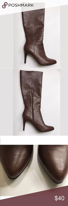 "Women's Faryl by Faryl Robin Tia Dress Boots 8.5 Size 8.5  Faux leather boots  Below the knee  Chocolate  3"" heel faryl robin Shoes Heeled Boots"