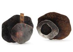 """Biba Schutz: , Earrings in sterling silver, copper, bronze, and 22k gold. Approx. 0.75 x 1"""""""