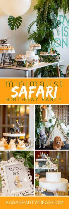 Minimalist Safari Birthday Party via Kara's Party Ideas - KarasPartyIdeas.com