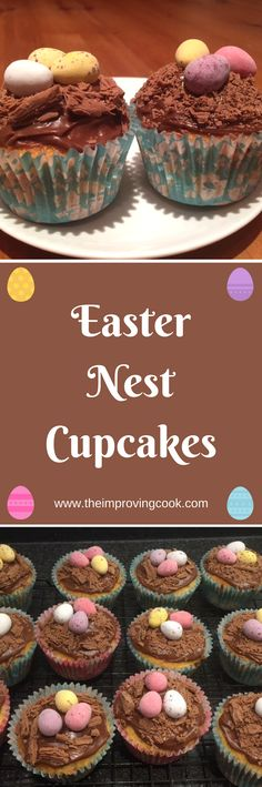 Easter Nest Cupcakes- pinnable image
