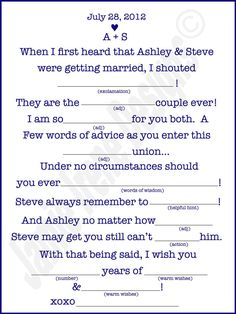 """fun idea to keep guests entertained during social hour/before dinner / """"How Drunk Are you Game""""  Guests can fill these out (placed at tables) and then submit them in box"""