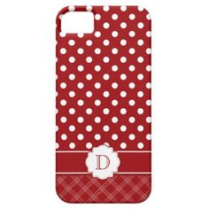 Girly iPhone5 Red White Polka Dots Monogram iPhone 5 Covers