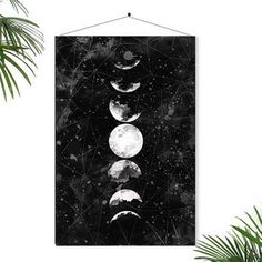 Full Moon Poster Geometric Art Galaxy Sky Space Stars Geometric Decor Watercolor Art Astronomy Science Wall Art Home Decor Dreamy luna lunar