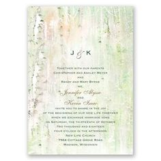 Introduce your whimsically rustic wedding style with this uniquely beautiful, watercolor birch trees wedding invitation available at Invitations by Dawn.