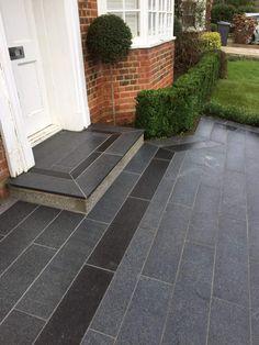 Black Granite Paving Slabs Sawn Edge Flamed Linear planks Lawn edging Floor Molding, Diy Molding, Paving Stones Direct, Granite Paving, Patio Slabs, Garden Paving, Concrete Steps, Lawn Edging, Garden In The Woods