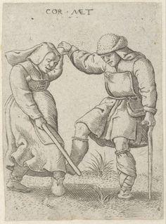 """""""Dancing beggars"""", 1538, Cornelis Massijs (1508-1560), Museum Boijmans Van Beuningen - short apron and """"blacksmith"""" style apron"""