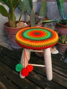 Teje que te teje: banquitos crochet fundas covers