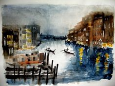 Sunset on the Grand Canal of Venice. The hauntingly beautiful watercolours of...