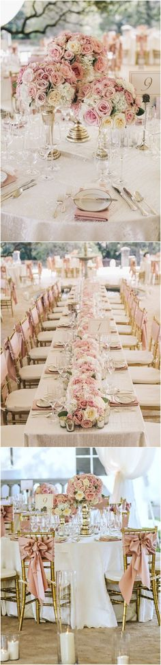 gold and dusty rose wedding decoration ideas