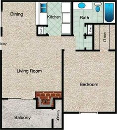 Contemporary Floor Plan at The Copper Hill Apartments in Bedford, TX