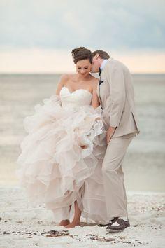 Stunning pink wedding dress: http://www.stylemepretty.com/florida-weddings/bonita-springs/2013/11/18/gold-navy-inspiration-shoot-from-fabulously-chic-weddings-jamie-lee-photography/ | Photography: Jasmine Lee - http://jamieleephotography.com/
