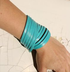 Mini Sliced Turquoise Leather  Double Wrap Cuff Bracelet. $18.00, via Etsy.