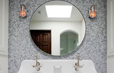 round mirror penny round mosaic tile bathroom bath nautical industrial sconces sink - Studio All Day Mosaic Bathroom Tile, Marble Showers, Mirror Tiles Bathroom, Penny Tiles Bathroom, Bathroom Mirror, Round Mirror Bathroom, Bathroom, Marble Shower Tile, Bathroom Decor