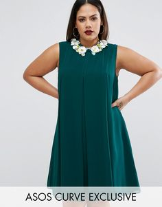 Buy it now. ASOS CURVE Pleat Swing Dress With Flower Embellished Collar - Green. Plus-size dress by ASOS CURVE, Lined woven chiffon, Flower embellished collar, Pleated design, Zip back closure, Swing style, Loose fit � falls loosely over the body, Hand Wash, 100% Polyester, Our model wears a UK 18/EU 46/US 14 and is cm/ tall, Mini dress length between: 85-90cm. ABOUT ASOS CURVE Say goodbye to awkward-fitting plus-size fashion with our ASOS CURVE collection. Giving shout-outs to denim…