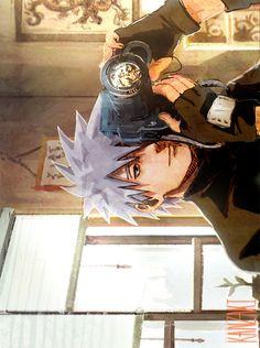 "Kakashi - this image reminds me of one fic where Kakashi would take ""sharingan snapshots"" of happy memories that he wanted to save in perfect detail as a way of counteracting all the bad memories his sharingan has seen Kakashi Hatake, Naruto E Boruto, Shikamaru, Itachi, Gaara, Anime Naruto, Anime Guys, Manga Anime, Deku Anime"