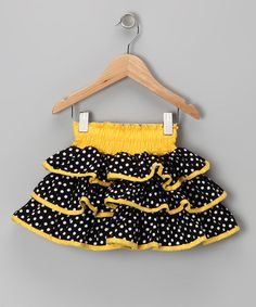 Yellow & Black Polka Dot Ruffle Skirt ~ Toddler & Girls ~ by Lele Vintage ~ save up to 70% off!