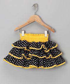 Yellow & Black Polka Dot Ruffle Skirt - Toddler & Girls by Lele Vintage
