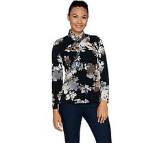 Susan Graver Printed Liquid Knit Pleated V-Neck Top with Trim