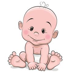 Cute cartoon baby boy vector art illustration