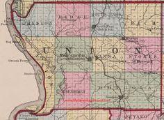 Union County, Illinois 1870 Map Anna, Jonesboro, South Pass, Western Saratoga, Dongola, Mt. Pleasant, Moscow, IL