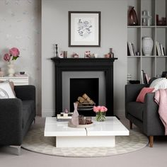 Looking for modern living room decorating ideas? Take a look at this dove grey and pink living room from Ideal Home for inspiration. For more living room ideas visit our living room galleries Living Room Grey, Living Room Decor, Living Room Designs, Living Spaces, Living Rooms, Family Rooms, Black Fireplace, Living Room Pictures, Living Room Inspiration