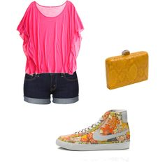Denim shorts, pink top, yellow clutch, floral Nike.