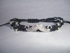 Mustache Macrame Bracelet  Black Waxed by LOVEwhatIdoDesigns