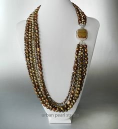 Brown Long Pearl Necklace Multi Strand Pearl by UrbanPearlStudio