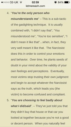 Narcissists gaslight to confuse and slow down the time it will take you to figure some of this...Recovery from Emotionally Abusive Relationships; Education about Narcissists, Sociopaths, and other Toxic People. Don't be a victim, don't just survive, Thrive LET THE CEMENT BENCH (available on Amazon) BE YOUR AHA MOMENT, PLEASE SHARE!!!