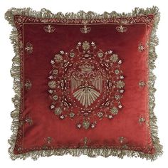 Beaumont & Fletcher's couture cushions are created by hand with the finest fabrics, then hand embroidered in fine metallic threads with semiprecious stones. Luxury Cushions, Antique Interior, Round Pillow, Indian Home Decor, Fabric Bags, Chair Pillow, Soft Furnishings, Pillow Design, Decoration