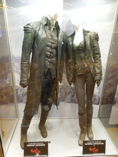 Hollywood Movie Costumes and Props: Jeremy Renner and Gemma Arterton costumes from Hansel & Gretel Witch Hunters... Original film costumes and props on display
