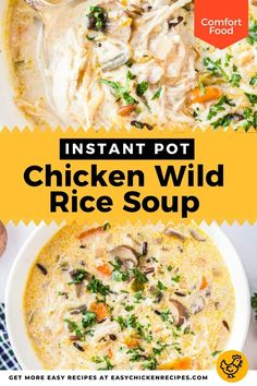 This comforting Instant Pot chicken wild rice soup recipe is effortless to make in your pressure cooker. Wonderfully creamy and hearty, this is true comfort food! This soup is wonderfully thick and nutritious and can easily be served as a dinner. #instantpotsoup #chickensoup #pressurecookersoup #comfortfood Chicken Wild Rice Soup, Pre Cooked Chicken, Chicken Soups, Chicken Soup Recipes, Leftovers Recipes, Dinner Recipes, Thanksgiving Leftover Recipes, Instant Recipes, Comfortfood