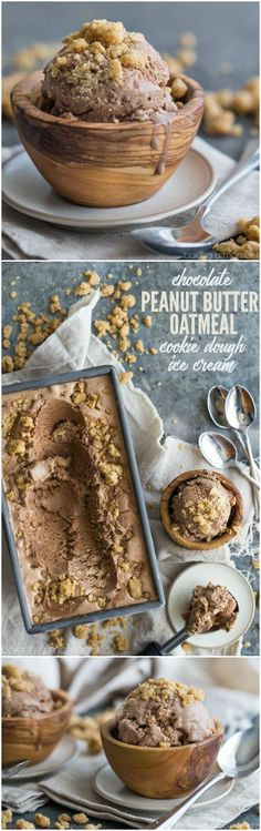 Chocolate Peanut Butter Oatmeal Cookie Dough Ice Cream!!! YUM!! Rich chocolate ice cream is studded throughout with chunky hunks of peanut butter oatmeal cookie dough !!!!