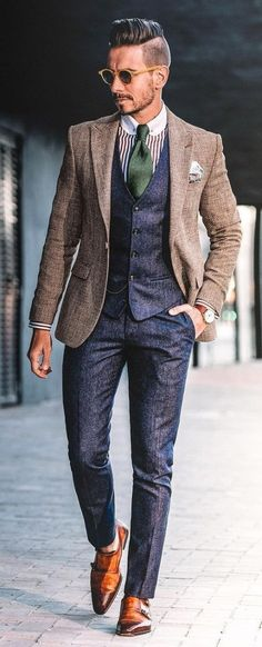 - with a navy waistcoat navy trousers green striped club collar shirt brown blazer silk pocket square sunglasses brown double monk shoes brown leather watch. Club Collar Shirt, Collar Shirts, Brown Suede Jacket, Brown Blazer, Suit Fashion, Mens Fashion, Look Formal, Stylish Suit, Brown Leather Watch