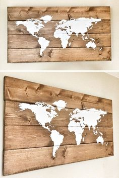 25 World Map Wall Art Designs Made From Wood - This rustic wood world map has a white hand-painted map, and due to the wood used, users can easily place push pins to show all their travels. Wood World Map, World Map Decor, World Map Wall Art, Wall Maps, World Map Painting, Rustic Wall Art, Wood Wall Art, Rustic Wood, Wooden Map