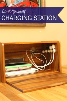 Love your electronics but hate the clutter the charging cables create? Try hiding them in a charging station made from a bread box!  http://www.crazyeasyorganizing.com/home/bread-box-charging-station/