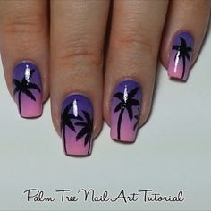 Palm Tree Nail Art ~ by #NailsbyJema ① For gradient: #OPI Hawaii Collection~ 'Suzi Shops And Island Hops' & 'Lost My Bikini In Molokini' + Seal ② for #PalmTrees black acrylic paint with Edinburgh Realism M0 brush ③ seal the paint with HK Girl Top Coat ④ and then matted them for the photos using Sally Hansen 'Big Matte Top Coat'.